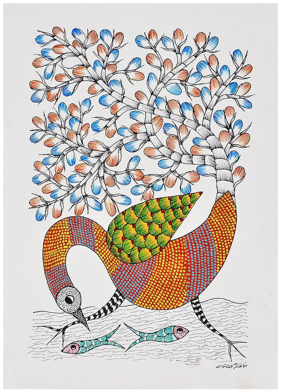 Crane Catches a Fish Gond Painting
