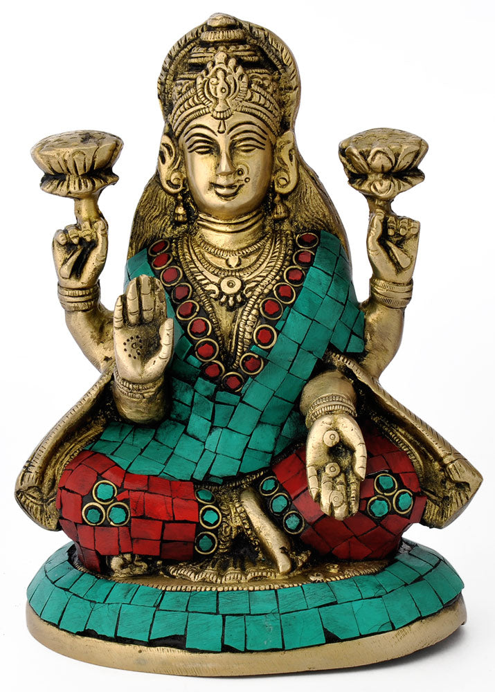 Goddess of Wealth Mahalaxmi Brass Statue 4748