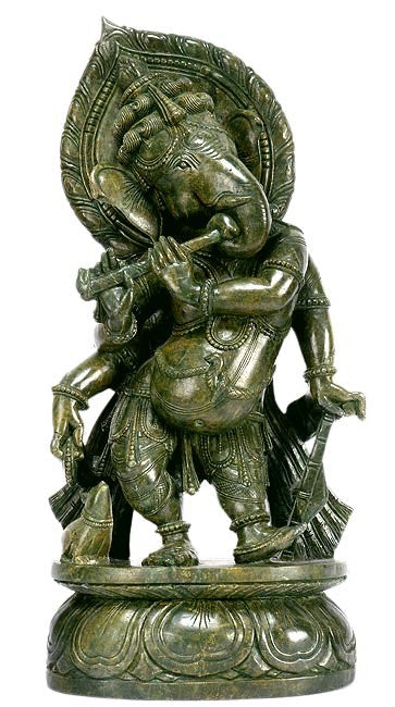 Lord Ganesh as Flute Player - Stone Sculpture