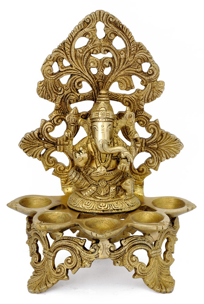 Lord Ganesha Five lamp Brass Statue