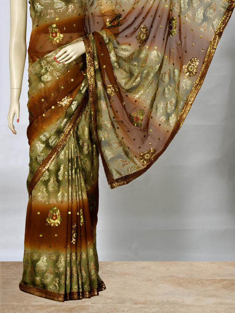 Stylish Green and Rust Color Saree With Sequins Work