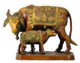 Auspicious Cow and Calf Brass Statue