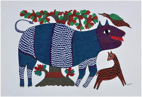 Lion Gond Painting