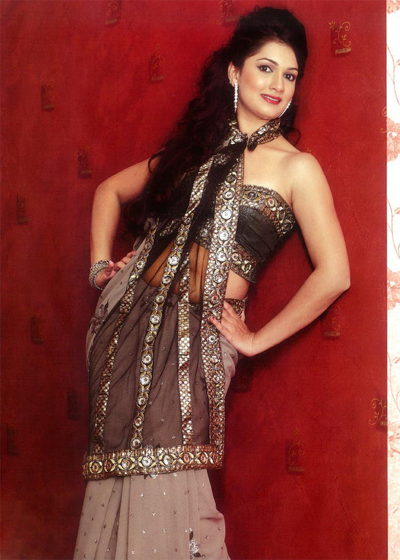 Net Part Wear Sari with Sequins and Embroidery Work