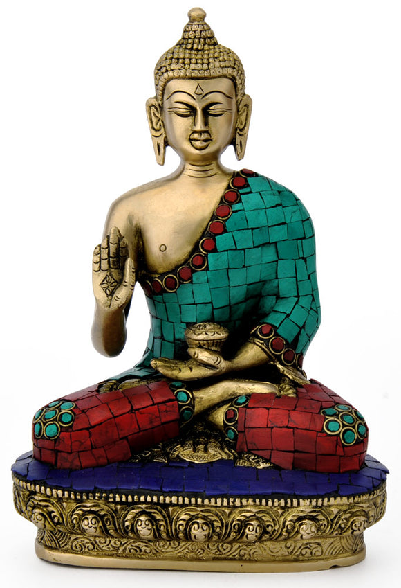 Lord Buddha Idol HandCarved Brass Statue 4755