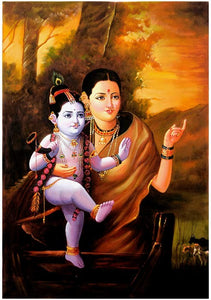 'Sri Krishna with Mother Yashoda' Oil Painting