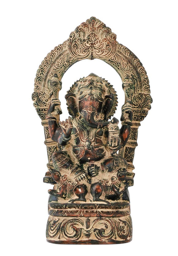 Antique Finsih Seated Lord Vinayak Brass Figurine