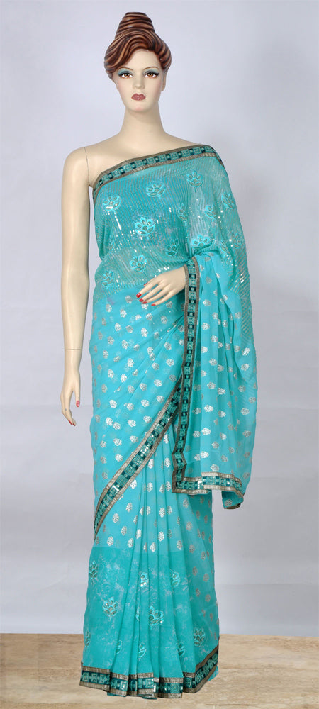 Stylish Turquoise Saree with Sequins Work on Pallu