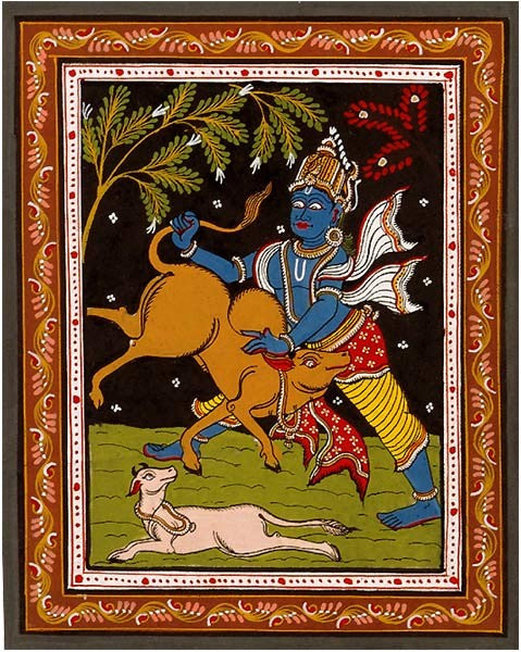 Lord Krishna The Demon Slayer - Patachitra Painting