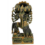 Ten Headed Devi Mahakal Brass Statue