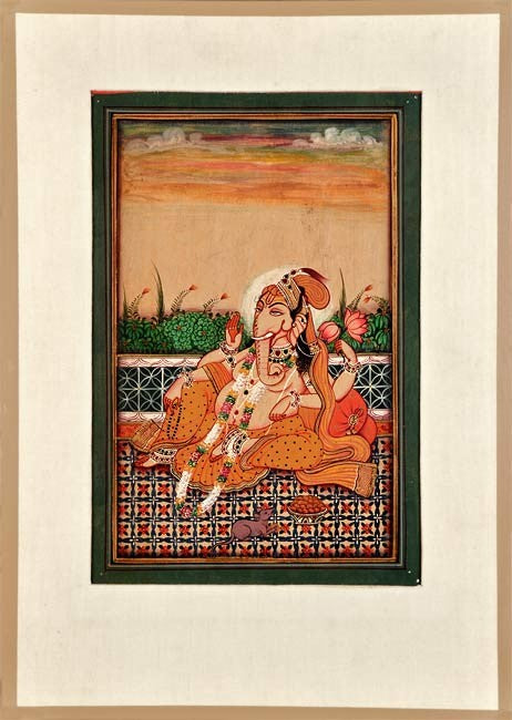 Seated Lord Ganesha - Miniature Painting