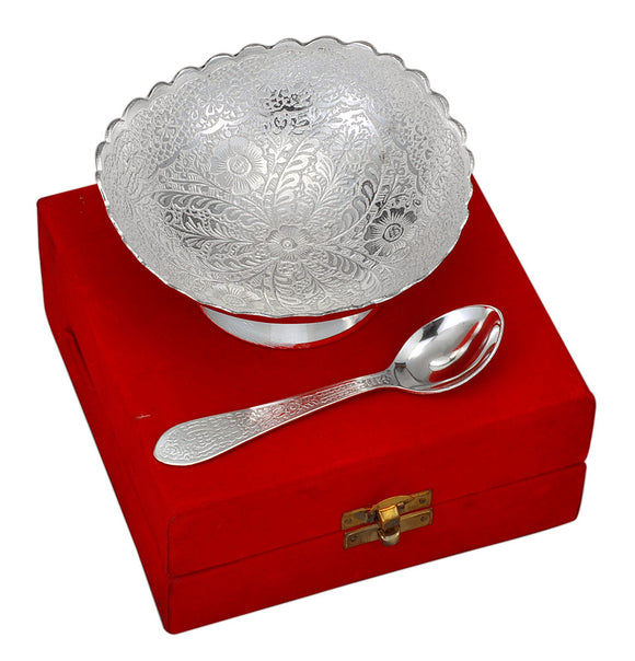 Silver Finish Metal Bowl With Spoon