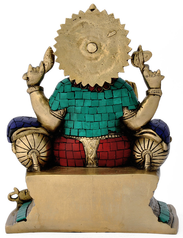 Lord Mahaganpati Seated on throne - Brass figure 4774