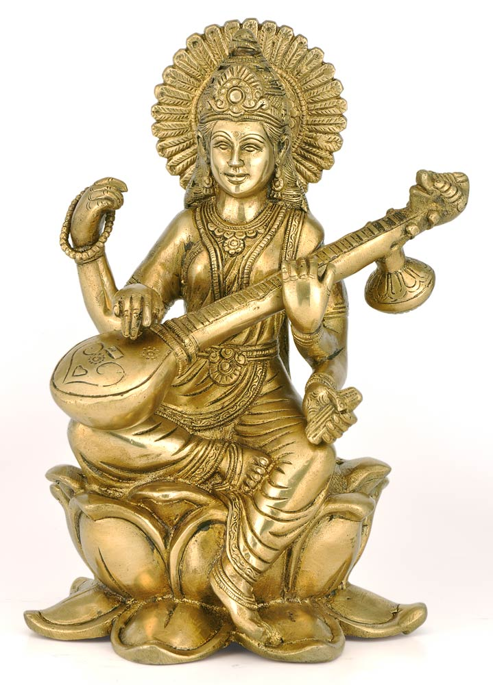 Brass Devi Saraswati Sitting on Lotus Playing Veena Statue Fine Detail Idol