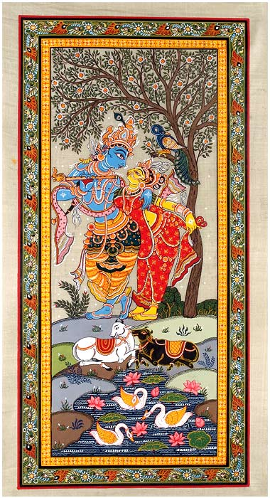 God Krishna with Radha Rani - Patachitra Painting 3500