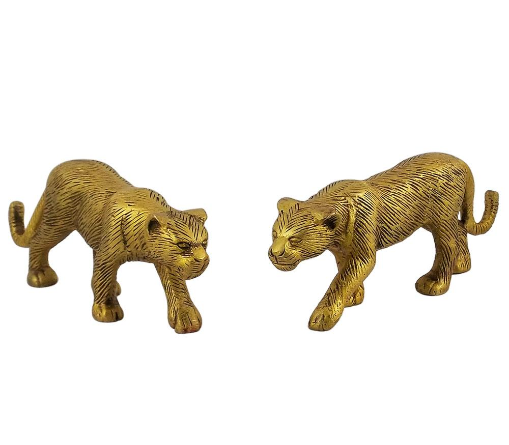 Golden Jaguar Pair Brass Statue