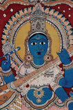 Goddess Saraswati Seated on Hansa - Kalamkari Painting