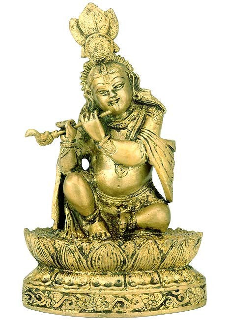 """Young Krishna Playing Flute"" Brass Statue"