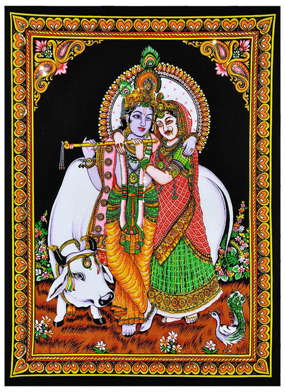 Radha with Krishna Playing Flute Cotton Painting