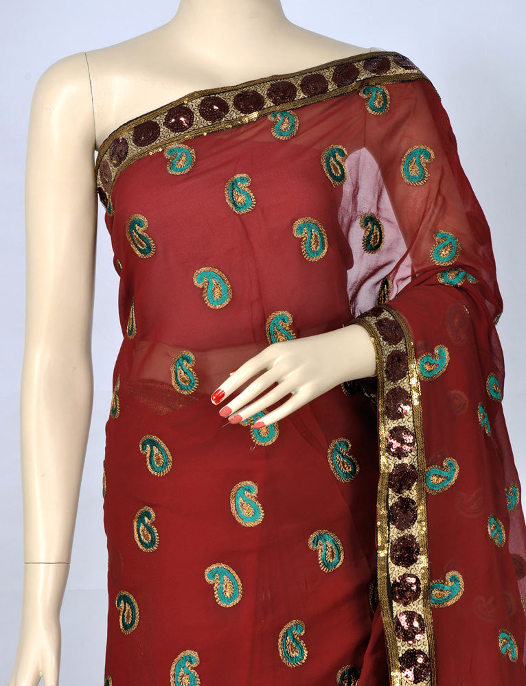 Beautiful Maroon Sari with Booti Work