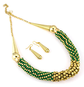 Costume Necklace 'Gold and Green'