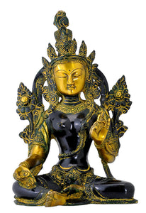 Beautiful Goddess Green Tara Brass Sculpture