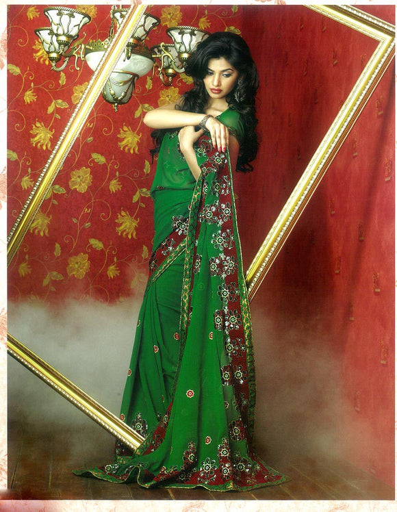 Party Wear Green Sari with Red Sequins & Embroidery Work