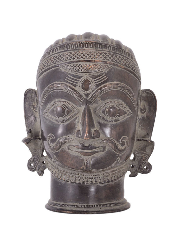 Antiquated Brass Shiva Head Sculpture