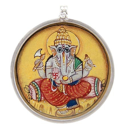 Radiant Ganesha - Hand Painted Silver Pendant