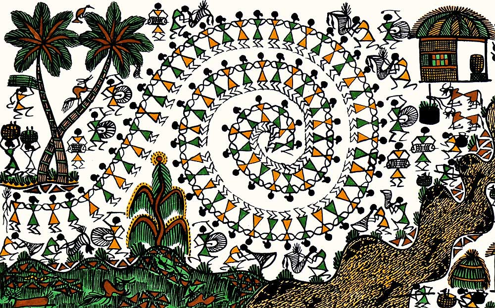 Village Daily Activities Tribal Painting