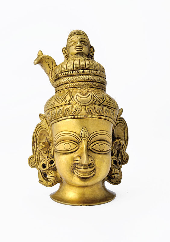 Lord Shiva Head Carved Brass Statue