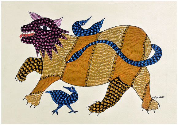 Lion - Gond Tribal Painting