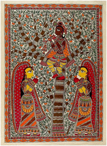 His Mesmerizing Tunes - Traditional Mithila Painting