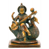 Maa Saraswati Seated on Swan Brass Statue