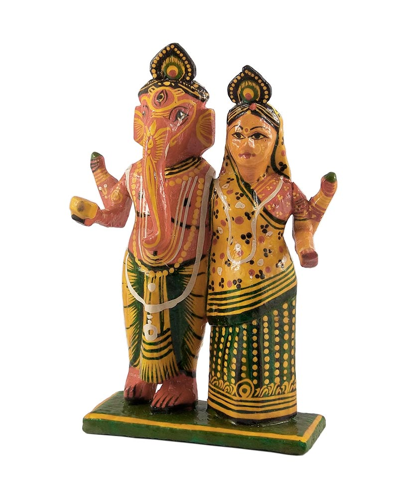 Lord Ganesha with Goddess Lakshmi Wood Sculpture