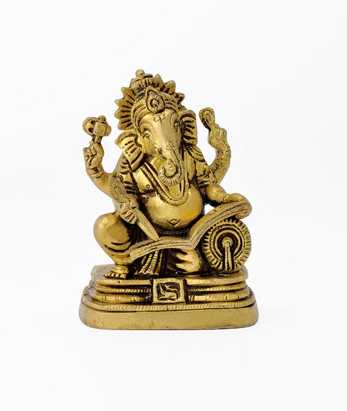 Lord Ganesha Writing the Great epic Brass Idol 3429