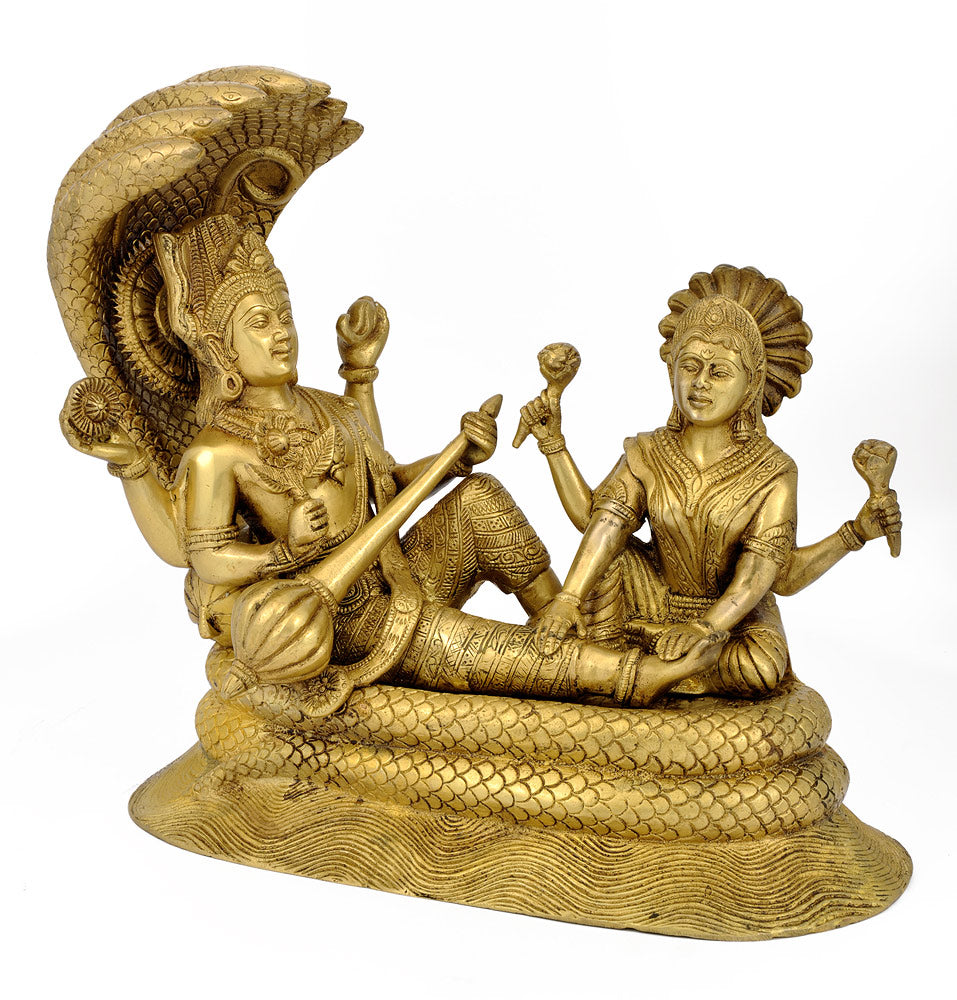 Brass statue of Lord Laxmi Narayan on Sheshnag