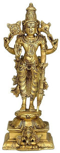 """Lord Narain"" Preserver of Live - Brass Statue"