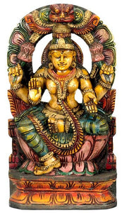 Goddess Lakshmi Consort of Lord Vishnu - Wood Statue