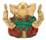 Baby Vinayak Brass Statue with Stones