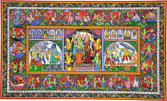 Folk Art Paata Painting - Life of Lord Rama