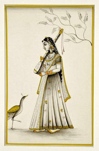 Lady with Veena - Ragini Miniature Painting