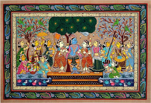 Gopi's Love for Krishna - Patta Chitra Painting