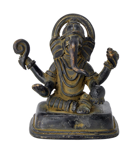 Antiquated Ganesha Folk Art Statue in Brass
