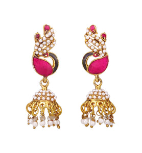 Stylish Fuchsia Peacock Design Jhumki Earring