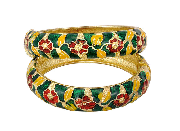 Green and Red Color Metal Bangle Set