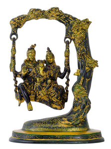Divine Couple Shiva Parwati with Ganesha Brass Statue