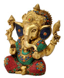 Benevolent God Ganpati Turquoise Coral Ornate Sculpture