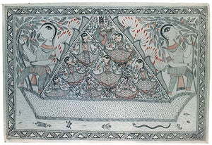 Krishna with Companians on Boat