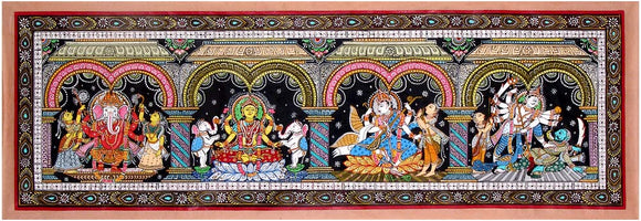 Patachitra Painting - Lakshmi, Ganesha, Saraswati and Kartikeya 3492